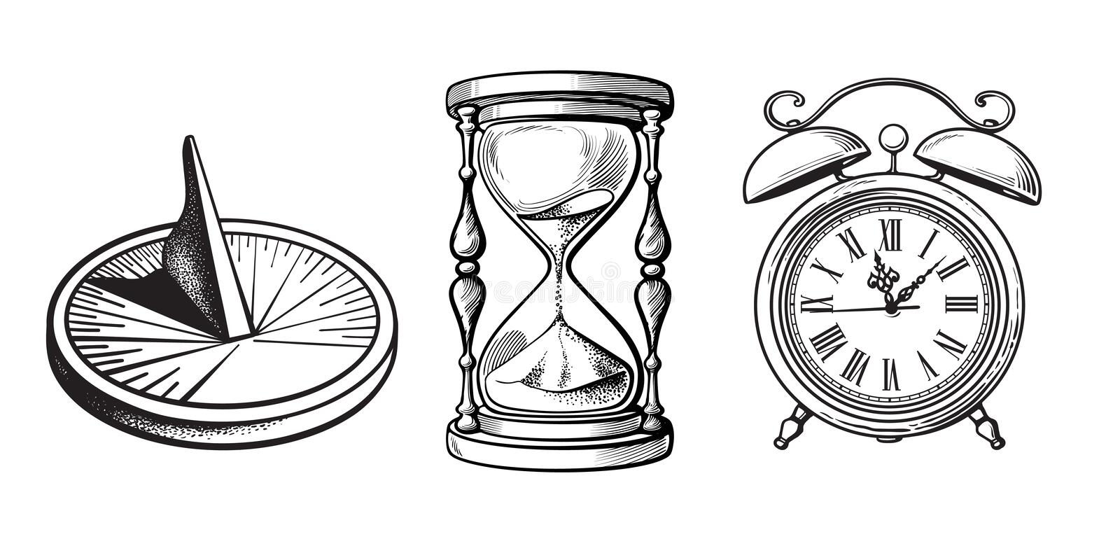 Set of different old clocks. Sundial, Hourglass, Alarm clock. Black and white hand drawn sketch vector. royalty free illustration