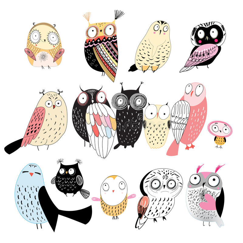 Set of different owls. Funny set of graphic owls on white background royalty free illustration
