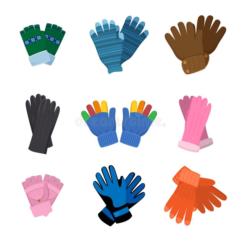 Set of different pairs of colorful gloves for kids or adults. For winter or another weather. Flat style. Vector illustration on white background royalty free illustration