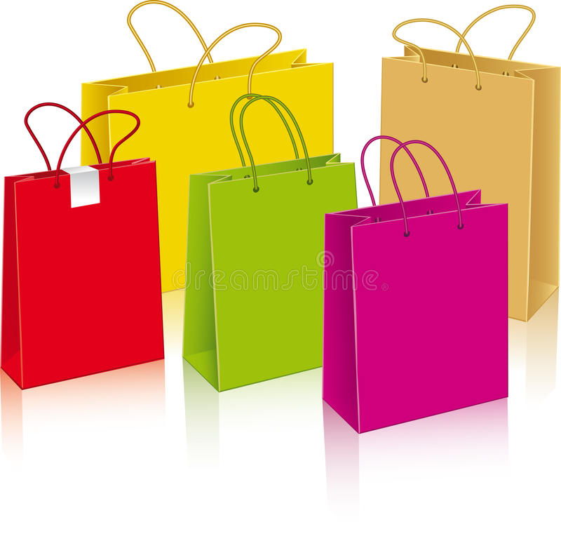 Download Set Of Different Paper Bags Stock Vector - Illustration of carrying, reciclable: 27616614