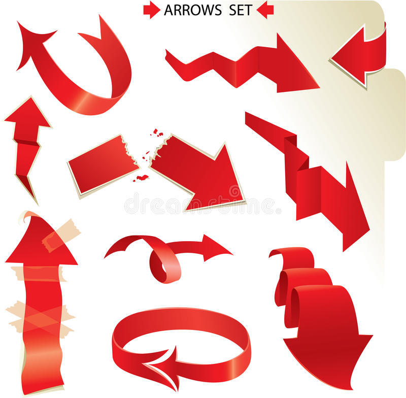Download Set Of Different Paper Red Arrows Stock Vector - Image: 26975529