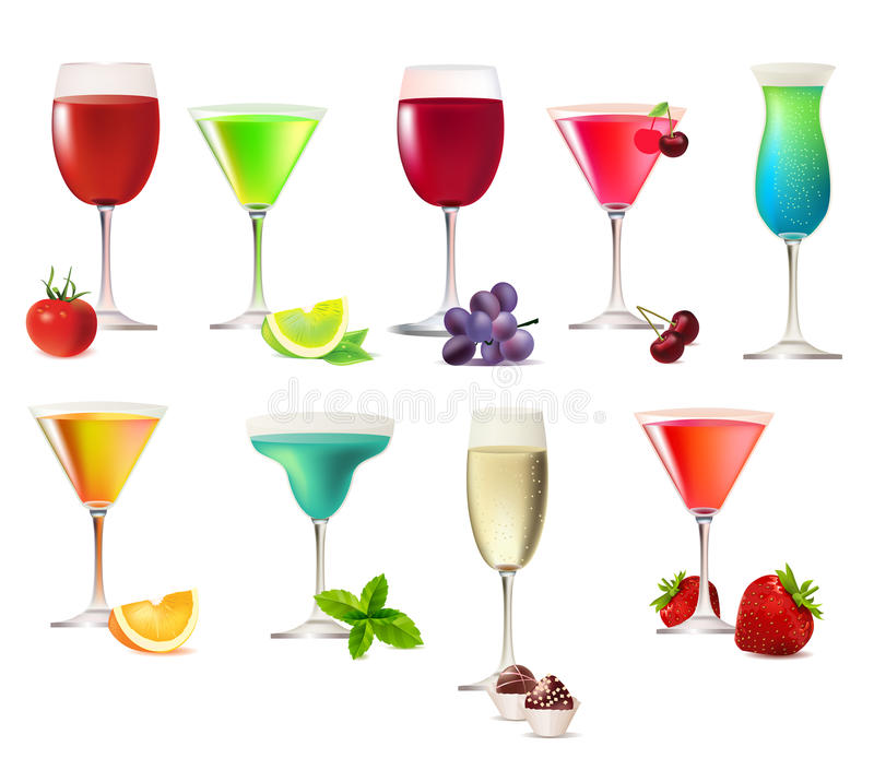 Set of different party drinks stock photos