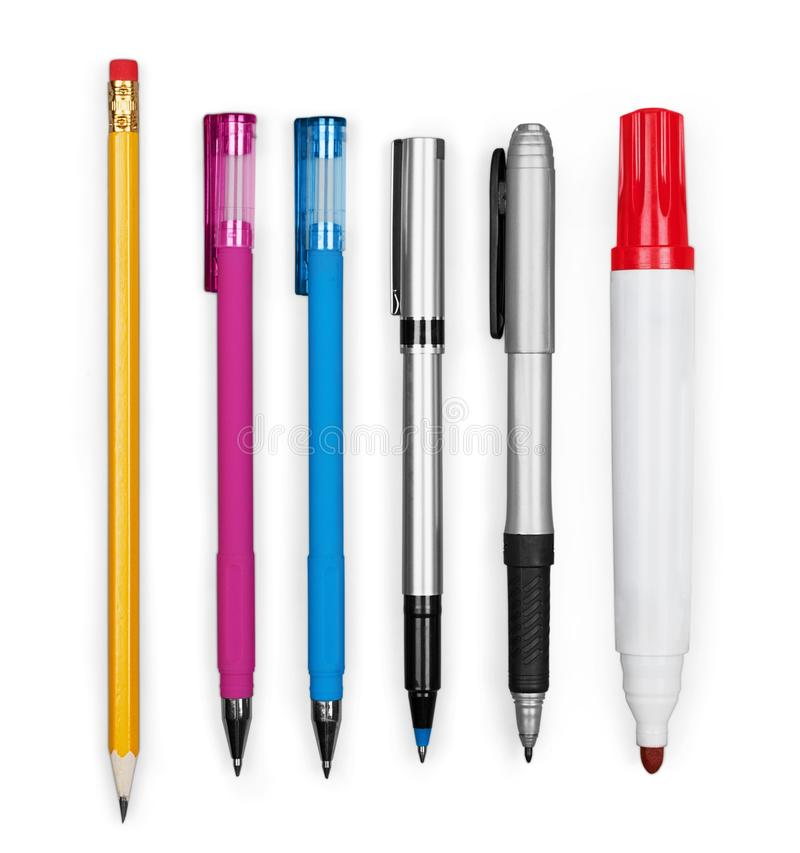 Set of Office Pens and Pencils. Set different pens color image red felt royalty free stock photo