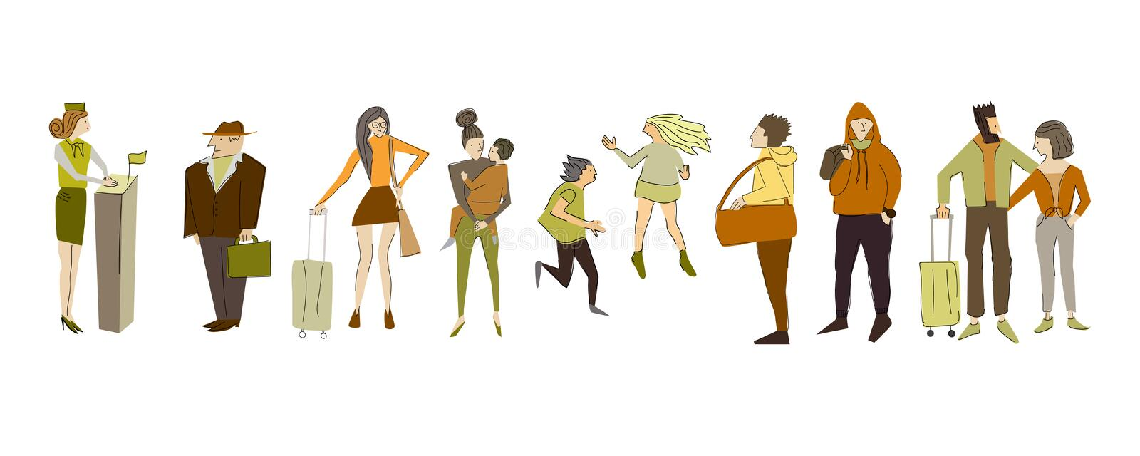 Set of different people. Boarding a flight. royalty free illustration
