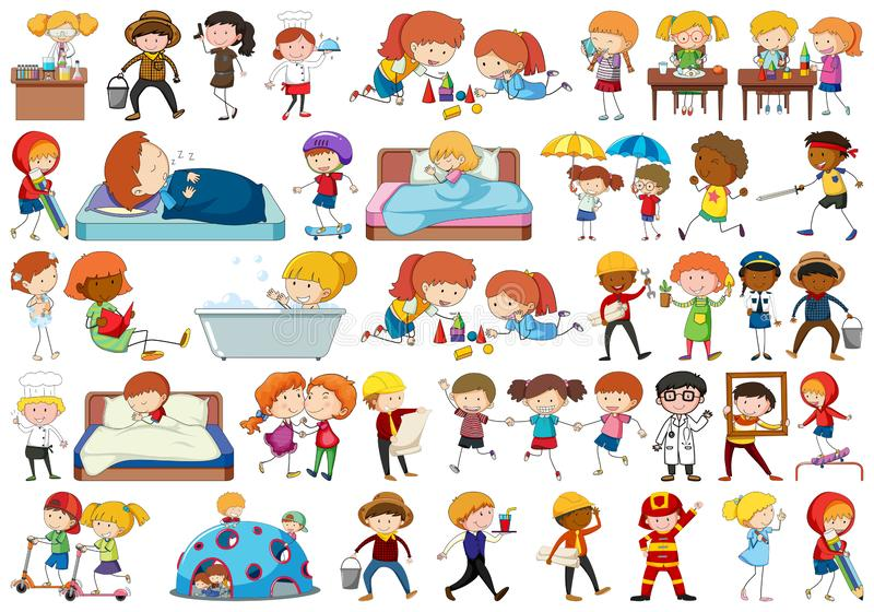 Set of different people stock illustration