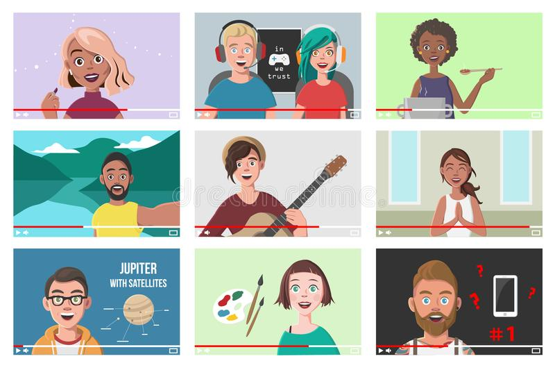 Set Of Different People On Internet Videos. Beauty Blogger. Gamers. Yoga Blogger. Cooking Blog. Music Covers. Travel Vlog. Science Nerdy Vlog. Artist Tutorials vector illustration
