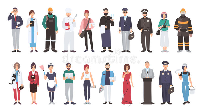 Set of different people profession. flat illustration. Manager, doctor, builder, cook, postman, waiter, pilot, policeman. Photographer fireman veterinarian stock illustration