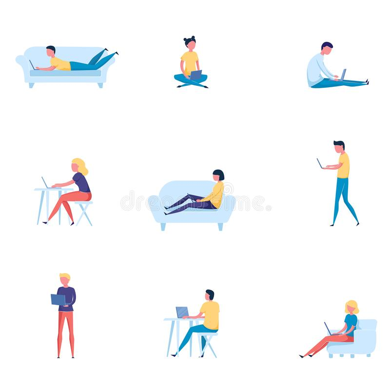 Set of different people that works on computer or laptop royalty free illustration