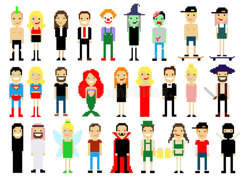 Set of different pixel art characters on white. Vector illustration. People icons. Halloween. Magic stock illustration