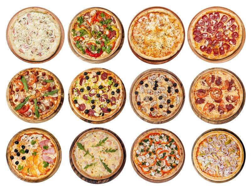 Set of different pizzas. Big set of different pizzas. Isolated on white background. Top view. Collection for menu royalty free stock images