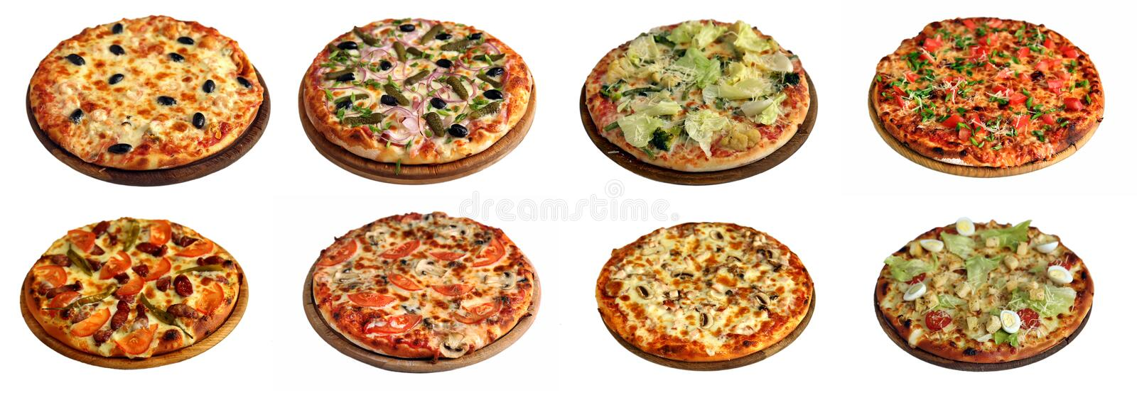 Set of different pizzas isolated on white royalty free stock images