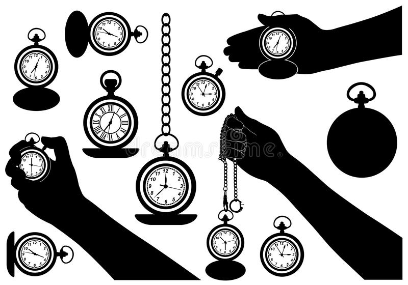 Download Set Of Different Pocket Watches Stock Vector - Image: 42158385