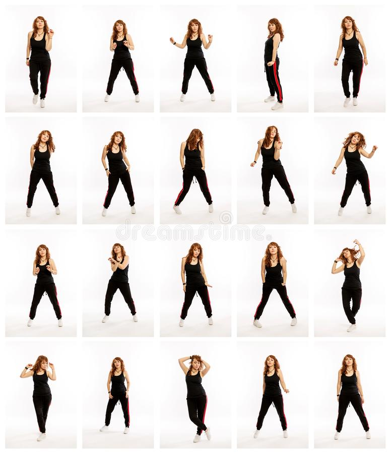 Set from different poses of a dancing woman, a collection of photos royalty free stock images