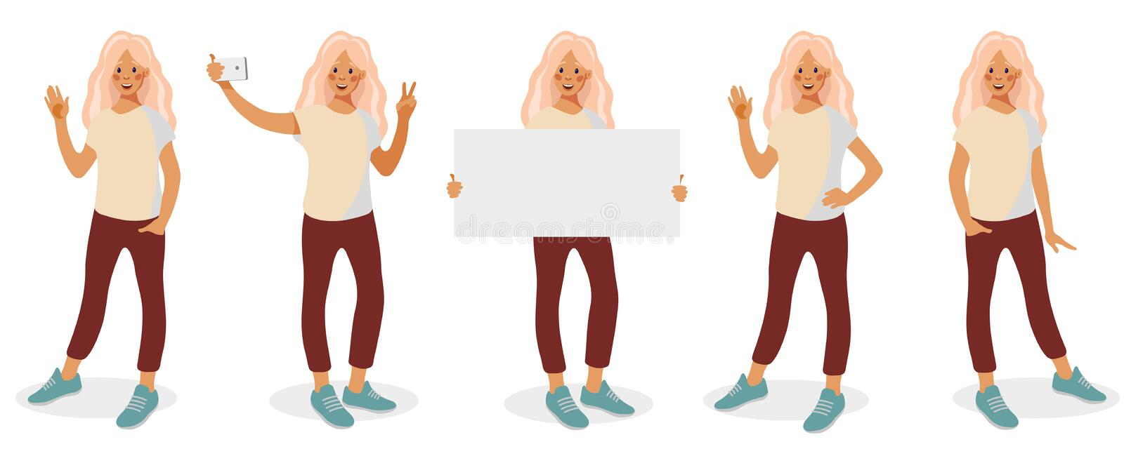 Set with different poses and gestures isolated on white background stock illustration