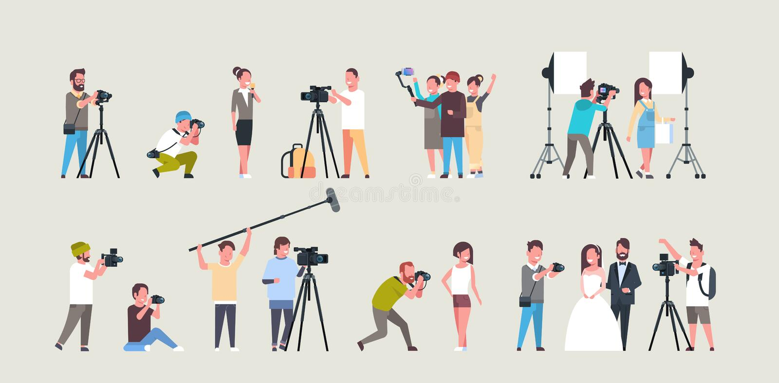 Set different poses photographers and cameramans using cameras african american characters shooting video taking. Pictures working during session collection vector illustration