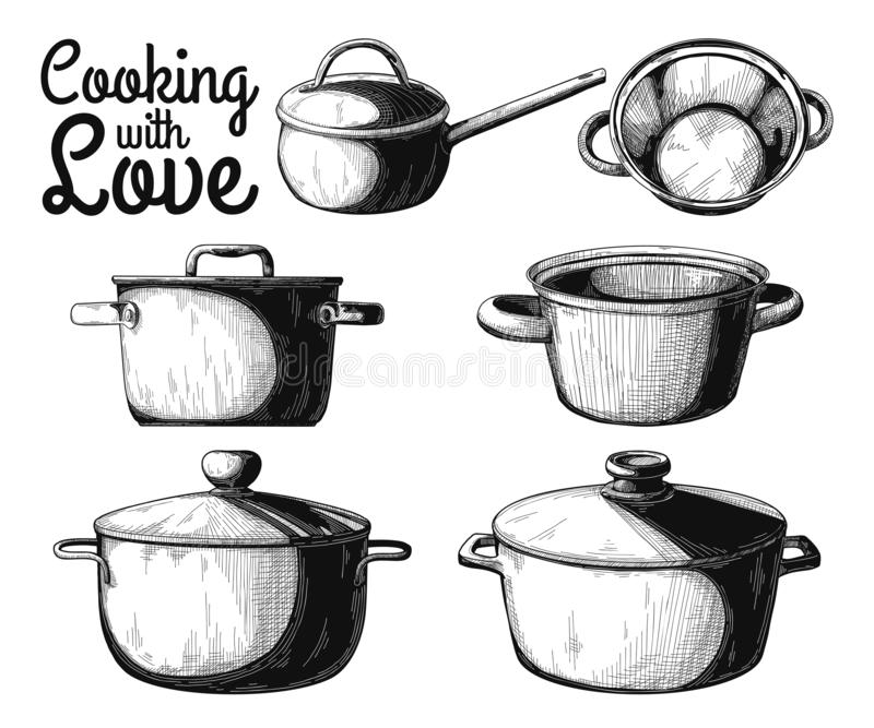 Set of different pots on a white background. Vector. Illustration stock image