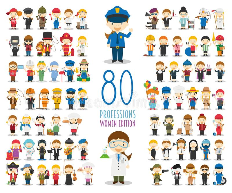 Set of 80 different professions in cartoon style. Women Edition stock illustration
