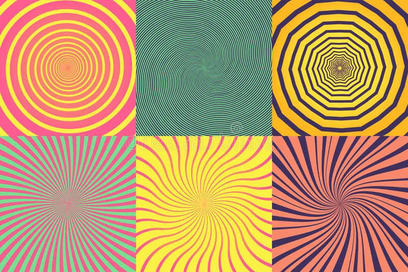 Set of different psychedelic spiral, vortex, twirl. Vector colorful backgrounds collection. stock illustration