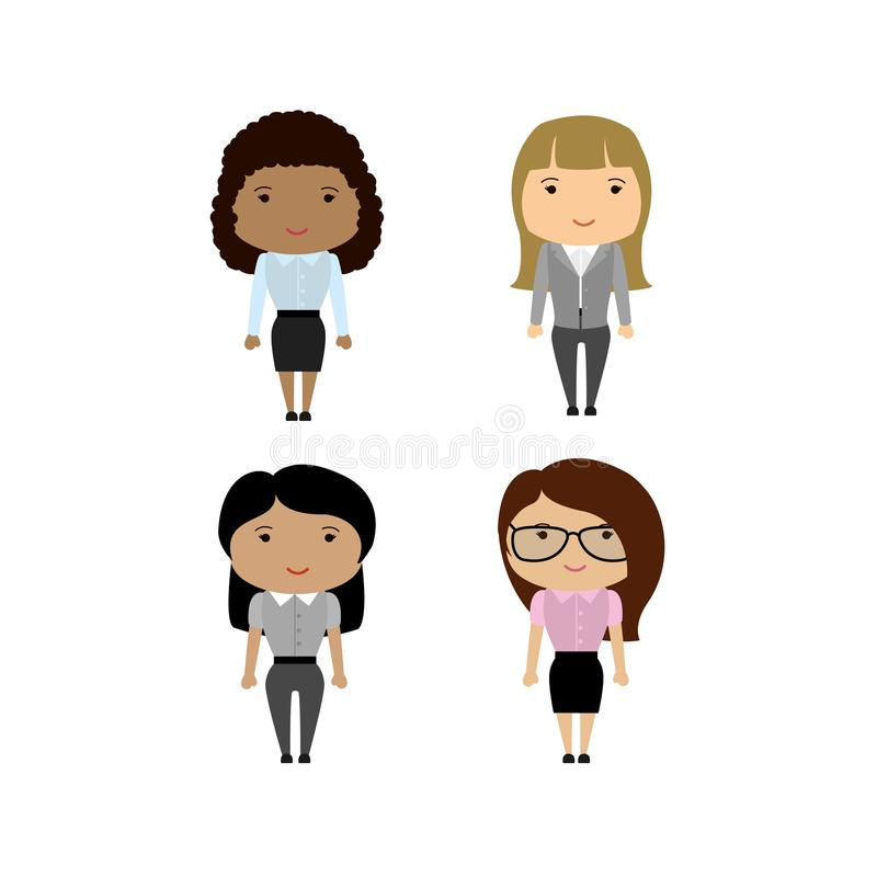 Set Different races Business Woman or office worker vector illustration