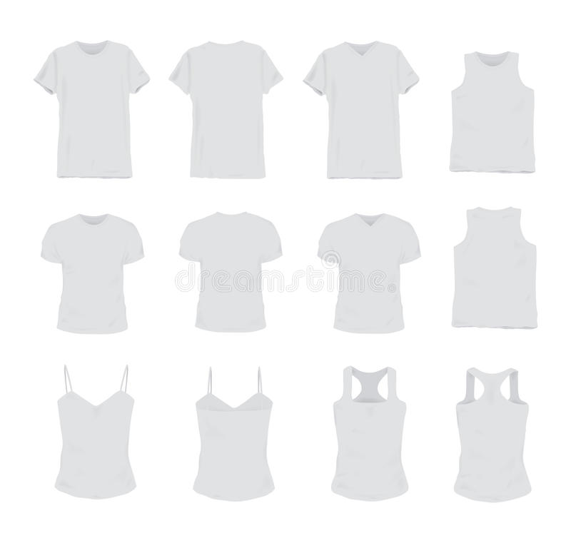 Set of different realistic white t-shirt for man and woman. Front and back view. Shirt sleeveless, short-sleeve, singlet. Tank top. Vector illustration vector illustration