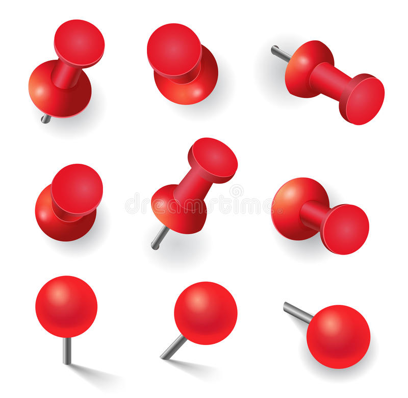 Set of different red pins royalty free illustration