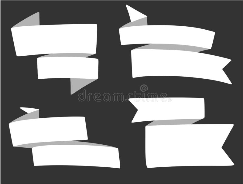 Set of different ribbons in cartoon style. Template for price tag, discount message text, poster. Vector image. Set of different white ribbons in cartoon style royalty free illustration