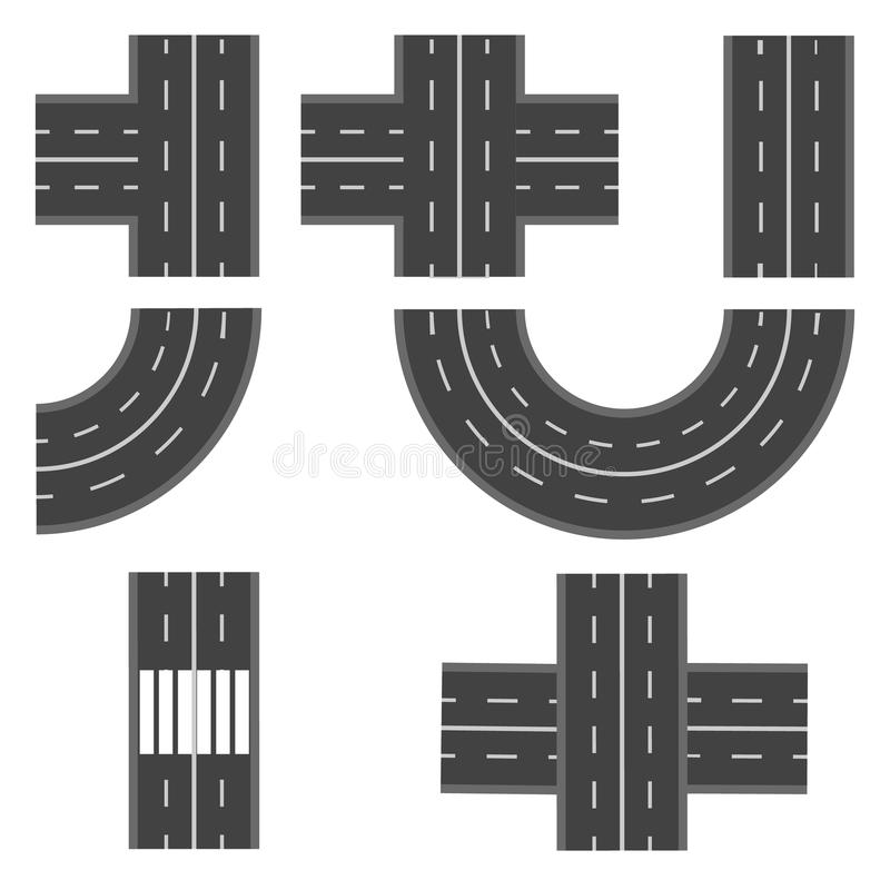 Set of different road, highway sections. illustration stock illustration