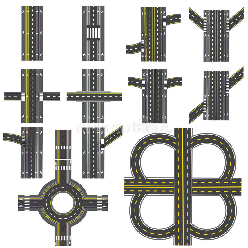 Set of different road sections with a circular dvizheniemi isolation. Transitions, turns and various intersections vector illustration