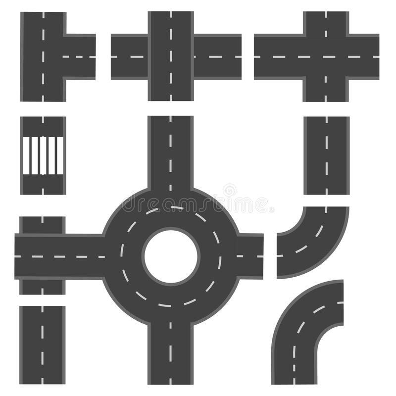 Set of different road sections. illustration stock illustration