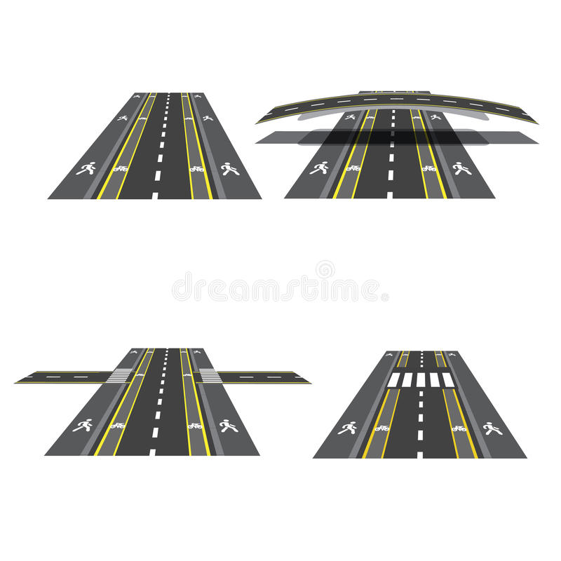 Set of different road sections with peshihodnymi crossings, bicycle paths, sidewalks and intersections. illustration vector illustration