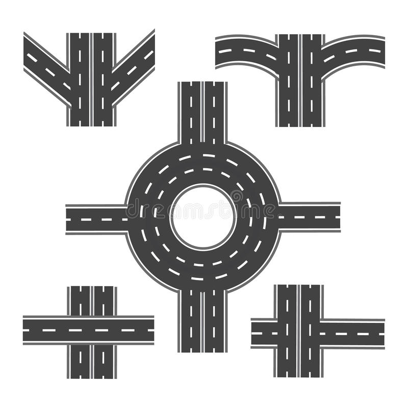 Set of different road sections with roundabouts and various intersections . illustration stock illustration