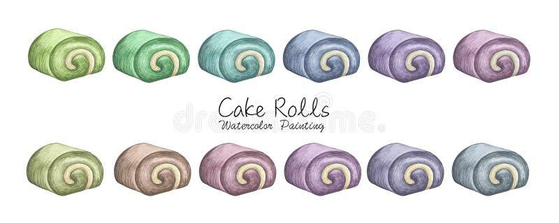 Set of different roll cake. stock illustration