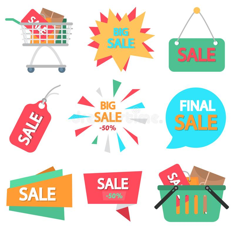 Set of different sale banners, icons, tags. Color flat design for web and mobile royalty free illustration