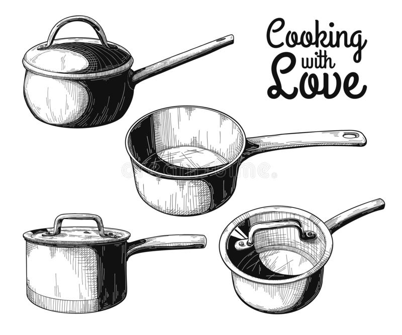 Set of different saucepans on a white background. Vector. Illustration stock photo
