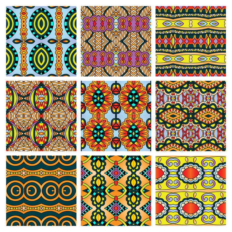 Set of different seamless colored vintage vector illustration
