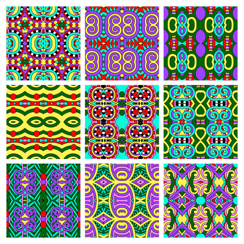 Set of different seamless colored vintage royalty free illustration