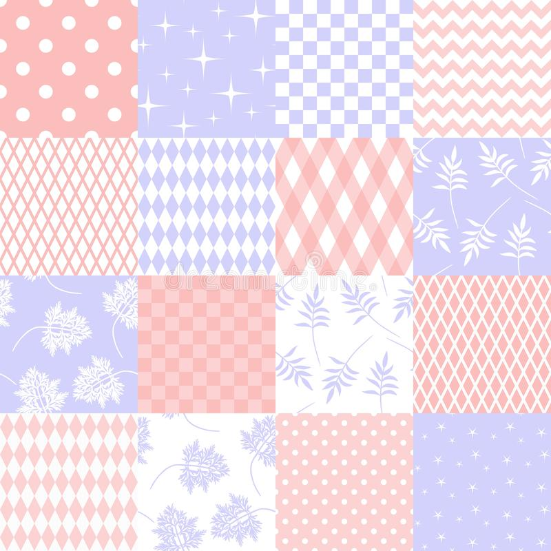Set of different seamless textures in tender colors for fabric vector illustration