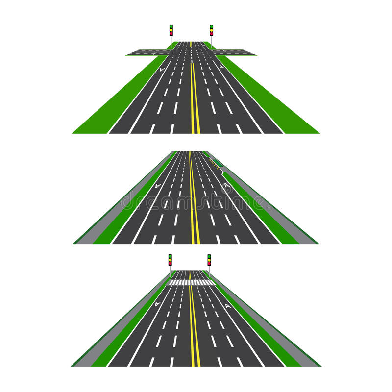 Set of different sections of the road with intersections, bike lanes, sidewalks and intersections. Perspective image stock illustration