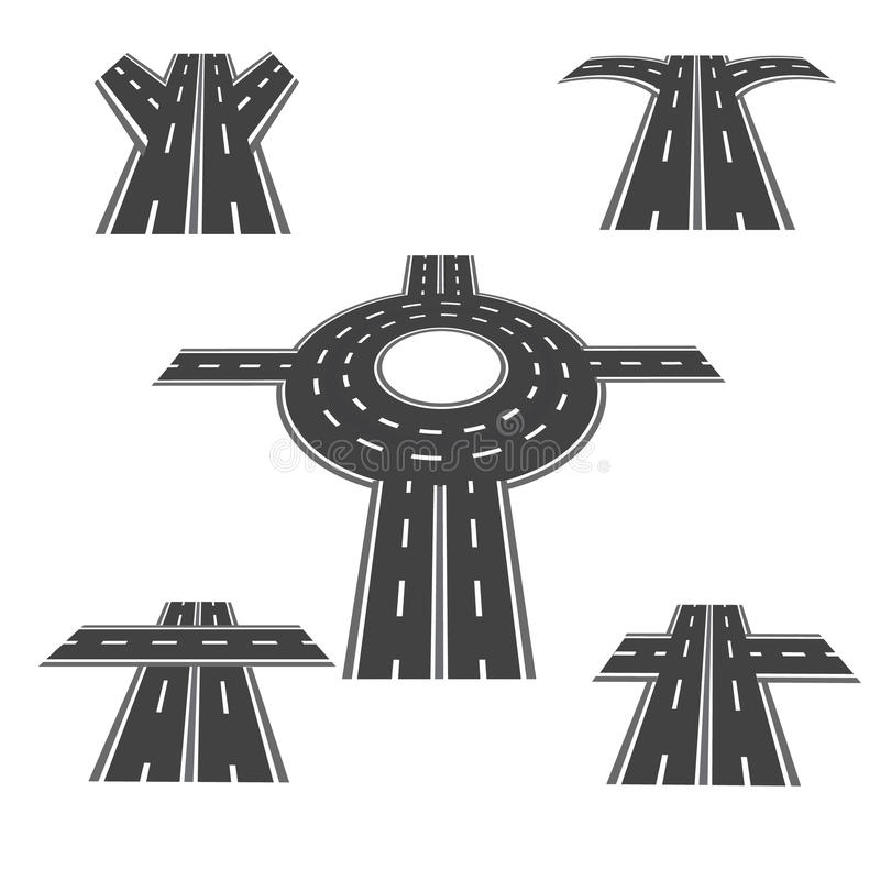 Set of different sections of the road with roundabout intersections, and a variety of different angles in the long term vector illustration
