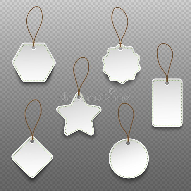 Set of different shape price tags isolated on transparent background vector illustration