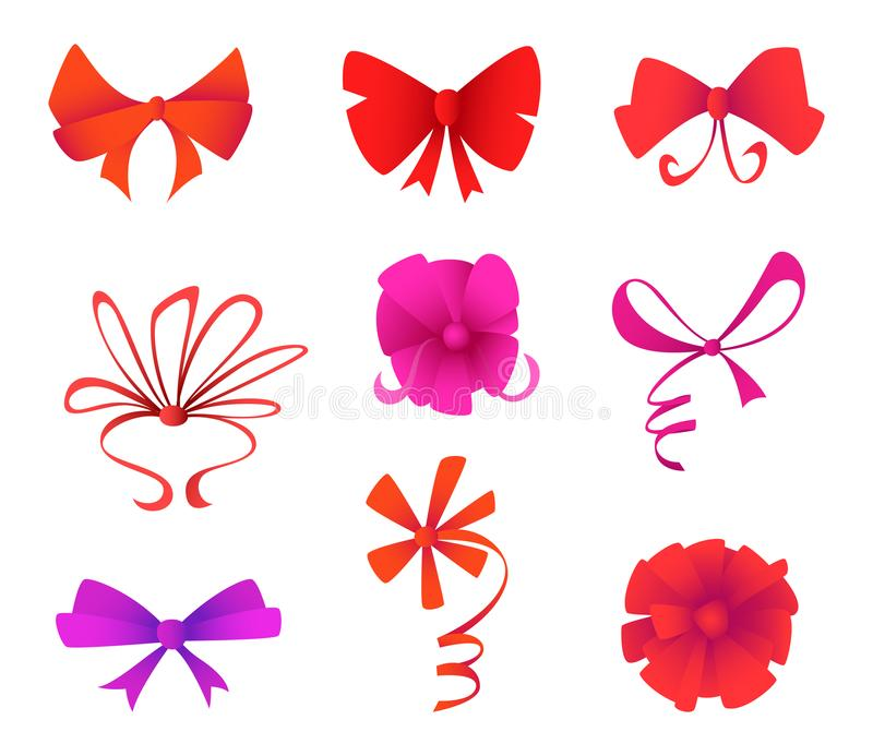 Set of different shapes gift bows with ribbons. Holidays and celebrations concept. Set of different shapes gift bows with ribbons. Holidays and celebrations stock illustration
