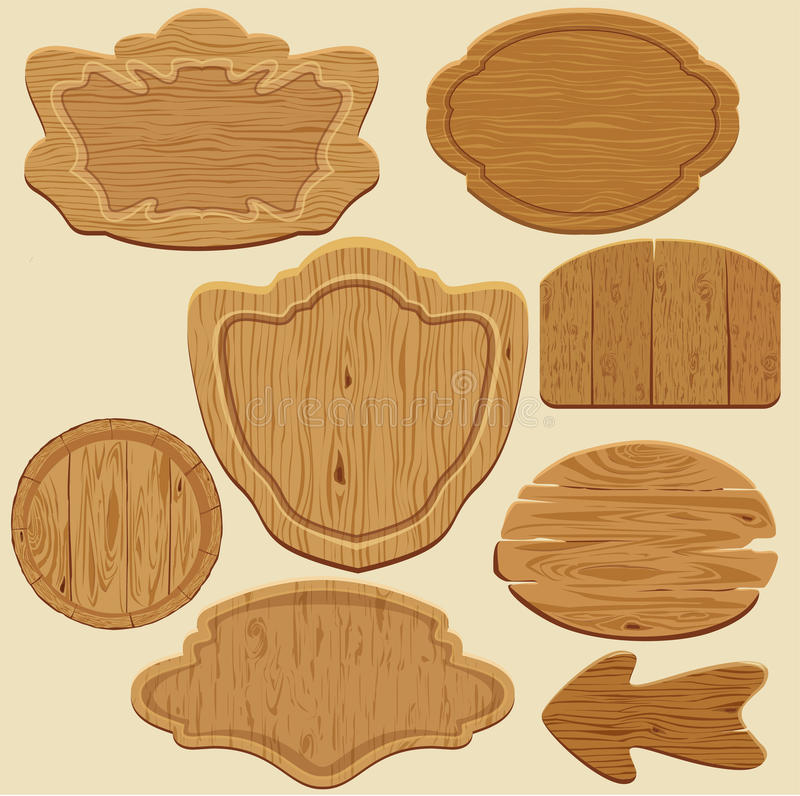 Set of different shapes wooden sign boards. royalty free illustration