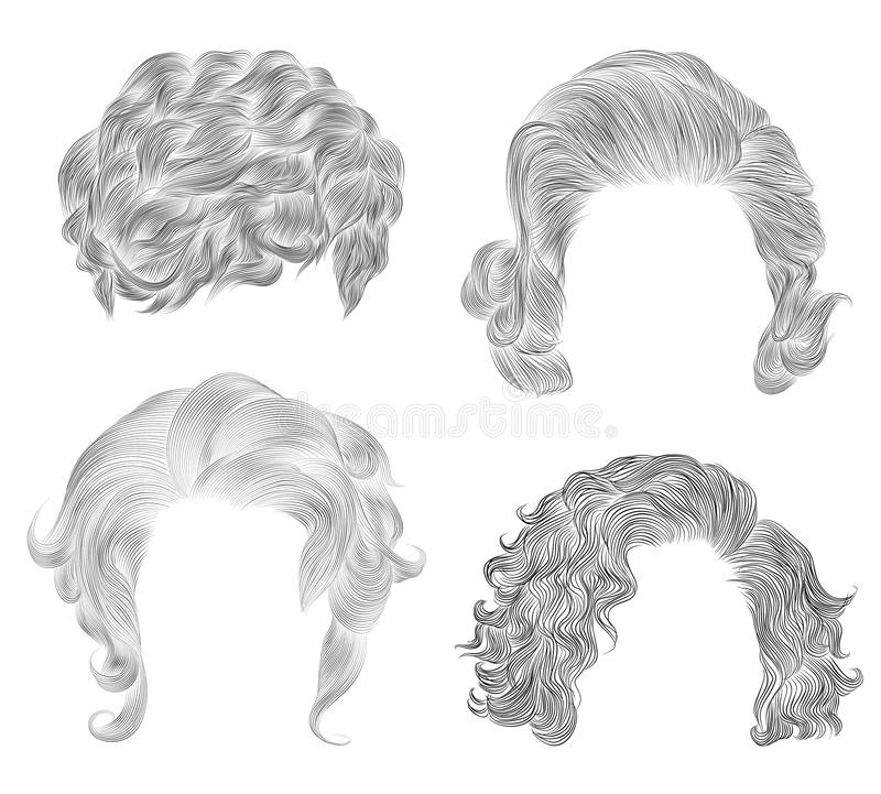 Set   different short curly hairs . fashion beauty african style . fringe  pencil drawing sketch stock images