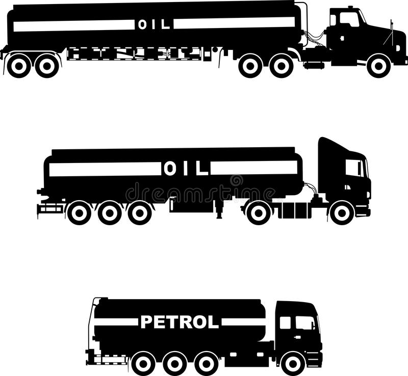 Set of different silhouettes gasoline trucks isolated on a white background. Vector illustration. vector illustration