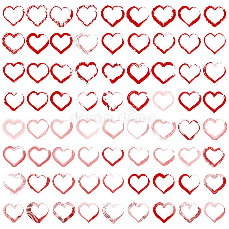 Set of different silhouettes of hearts royalty free stock image