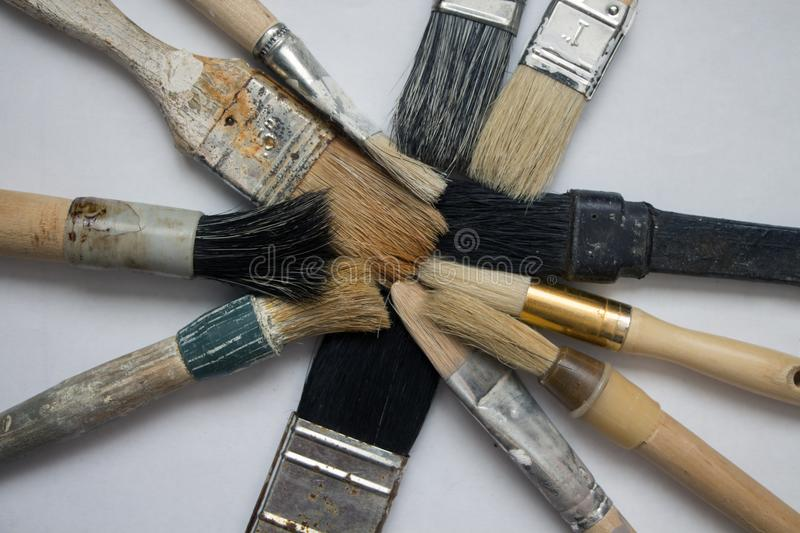 A set of different sizes of brushes for painting stock photo