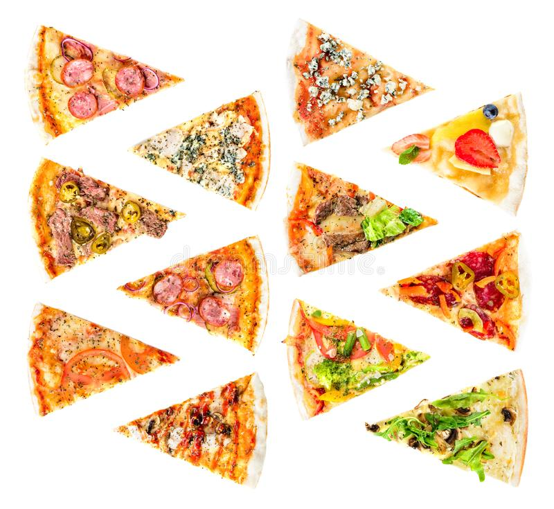 Set of Different slices of pizza isolated on white. Delicious fr stock images