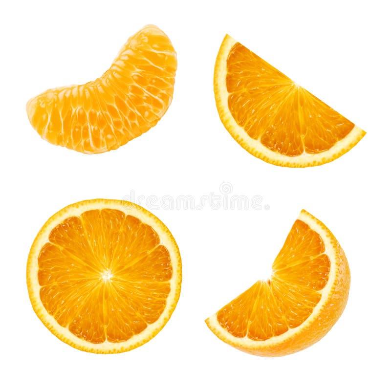 Set of different slices of sweet juicy orange fruit isolated on white stock photo