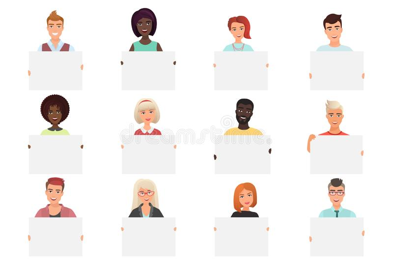 Set of different smiling people holding white blank posters isolated on white backround. Colourful vector illustration. royalty free illustration