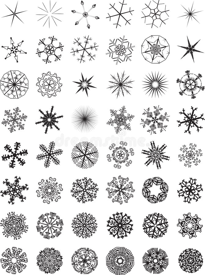 Set of different snowflakes. 48 different black snowflakes on white background royalty free illustration